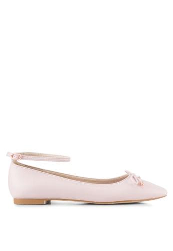 Velvet beige Ankle Strap Ballet Flats AE207SHF71C7B2GS_1