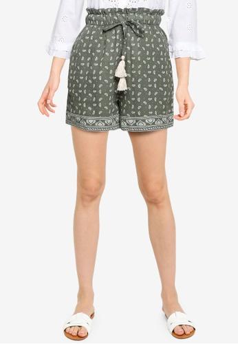 Springfield green Paisley Organic Cotton Linen Shorts D9704AA51EE23CGS_1