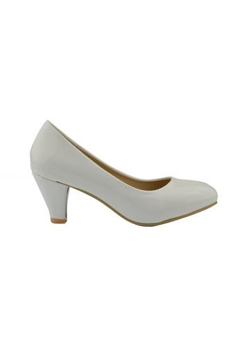 SHINE white Classic Grossy Court Heels SH554SH97FKKSG_1