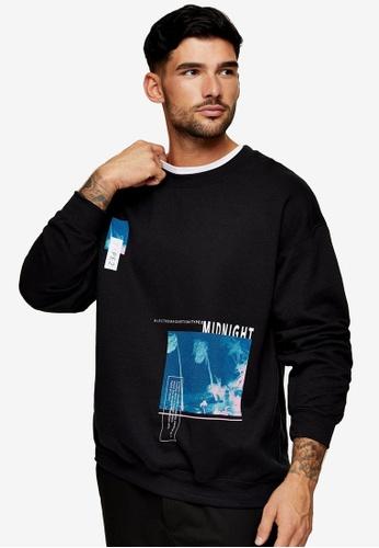 Topman black Midnight Sweatshirt In Black AF95AAA385BFF4GS_1