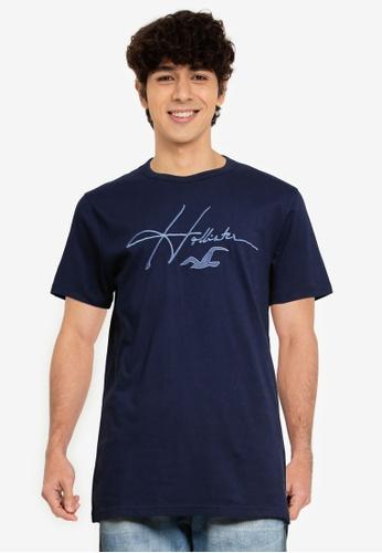 Hollister navy Tech Micro Script T-Shirt 96B19AAFBA9A52GS_1