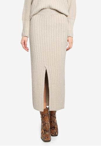TOPSHOP beige Centre Split Knitted Skirt 0CF5EAA3DE2077GS_1