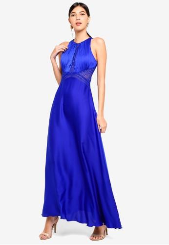Little Mistress blue Cobalt Pleat Maxi Dress CBE9CAAD8472DAGS_1