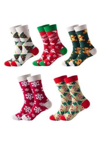 Kings Collection 白色 5 件套聖誕主題圖案舒適襪子 (均碼) (HS202331-335) 97CF0AA707F671GS_1