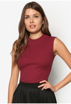 Basic High Neck Sleeveless Jersey Top