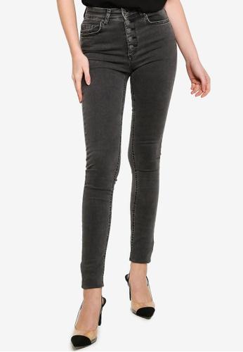 ONLY black Blush High Waist Button Jeans 141BAAA1AB4DE4GS_1