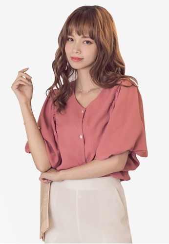 Yoco pink Button Front Short Bell Sleeve Top 8F45CAA6548FEAGS_1