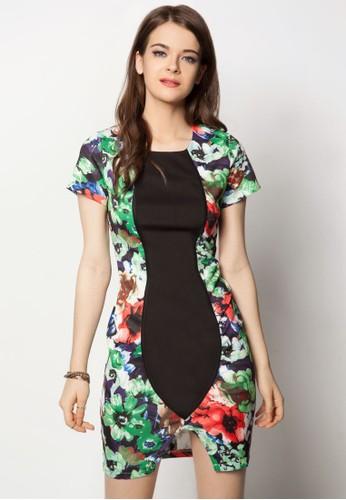 碎花拼接貼身洋裝esprit官網, 服飾, 緊身洋裝