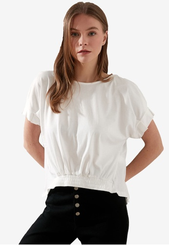 Trendyol white Tie Back Detail Shirred Front Top 51C63AA5112144GS_1