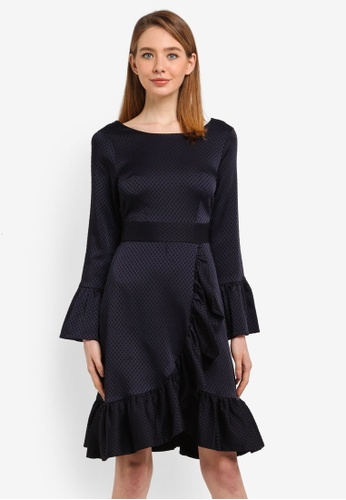 CLOSET navy Frill Wrap Over Hem Dress 3E00EAA651E761GS_1