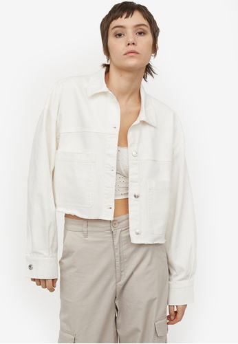 H&M white Cropped Twill Jacket E4BFCAABAB5A72GS_1