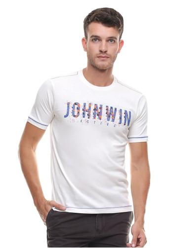 Johnwin white Johnwin - Slim Fit - Kaos Casual Active - Logo Johnwin - Putih JO804AA0VG2OID_1