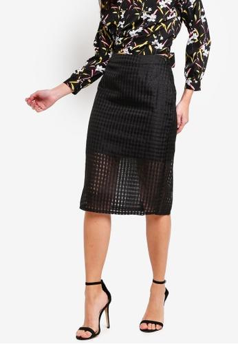 ZALORA 黑色 透視層次格紋裙 2CC05AA59A411DGS_1