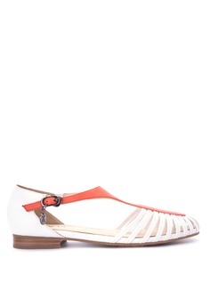 Kickers Women Red Cream Flat Shoes