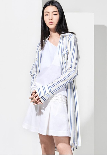 EJnolee white and blue Blue Stripes Long Shirt EJ188AA0FIG2SG_1