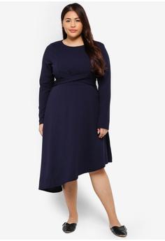 aeb9464ec4946 LOST INK PLUS navy Plus Size Dress With Cross Tie Waist A70BEAA86ADB53GS 1