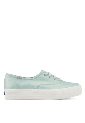 Keds blue Triple Metallic Linen Sneakers KE942SH0STFUMY_1