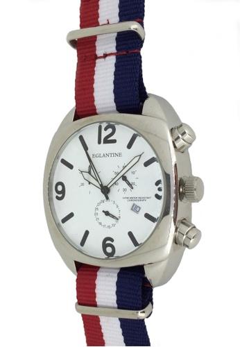 EGLANTINE silver EGLANTINE® XXL Big Bubble Men's Stainless Steel Quartz Chrono Watch White Dial on Nato Strap 78DFCAC7E5FE96GS_1
