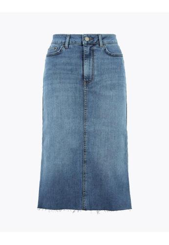 MARKS & SPENCER blue M&S Denim Midi Skirt 7ED9FAA117894FGS_1