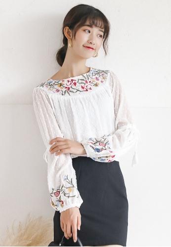 Shopsfashion white Boho Floral Embroidery Full Sleeve Blouse SH656AA0G4VHSG_1
