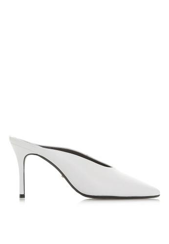 Dune London 白色 皮革高跟穆勒鞋 AD5EDSH63B870BGS_1
