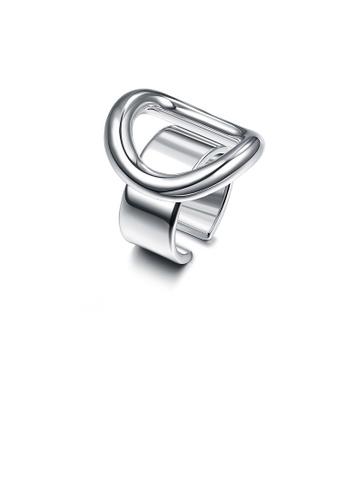 Glamorousky silver Fashion Simple Letter O Adjustable Split Ring 8F49DAC88F0E60GS_1