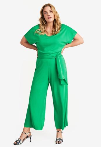 2d771bd3f90 Violeta by MANGO green Plus Size Long Palazzo Jumpsuit 58B72AA77BA4B8GS 1