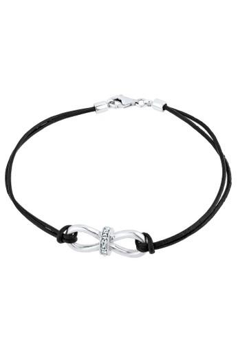 925 Sterling Silver Gelang Infinity Swarovski Crystals Putih