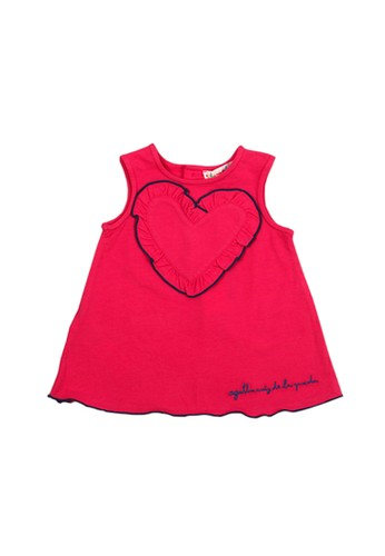Agatha Ruiz De La Prada pink Fuchsia Sleveless Heart Cotton Dress DBE59KA381CF36GS_1