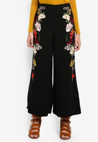 TOPSHOP black Embroidered Trousers B0ECFAA5C0D789GS_1
