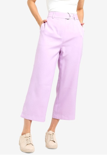 Something Borrowed purple Belted Trousers A0BF5AA7537F49GS_1