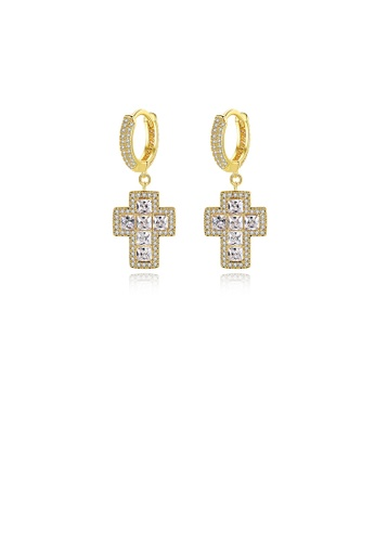 Glamorousky white Fashion Bright Plated Gold Cross Geometric Round Earrings with Cubic Zirconia 4E4E6ACF17ED2EGS_1