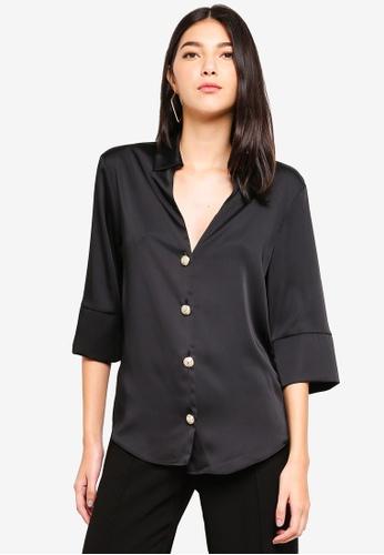 River Island black 3/4 Sleeve Jada Button Through Shirt 0BE05AAEA655A1GS_1