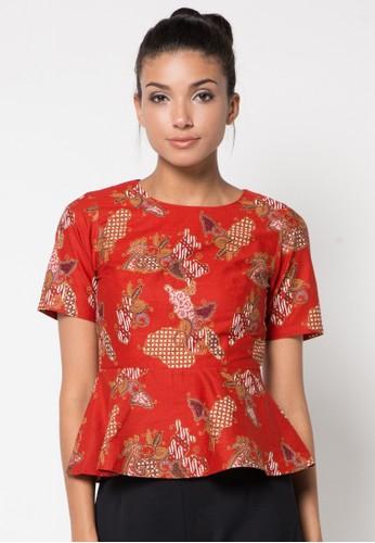 Batik Solo red Short Sleeve Cotton Blouse BA657AA13AWWID_1
