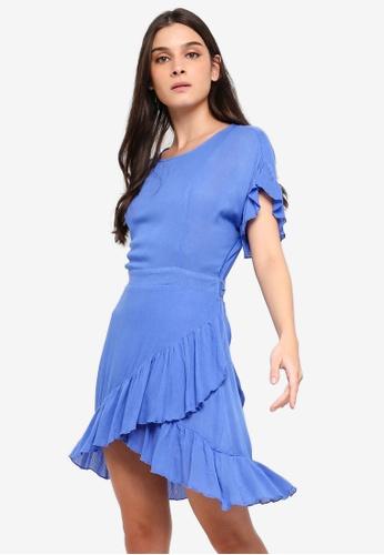 ZALORA blue Ruffles Fit And Flare Dress 3F7B9AA9F40674GS_1