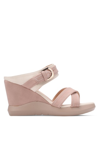 Spiffy beige Fashion Ladies Wedges with Cross Strap SP352SH0S6DTMY_1