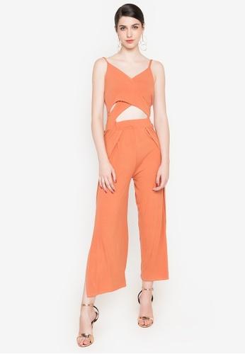 F.101 orange Overlap Back Knot Overlay Slit Jumpsuit 8E7E3AA4E520A2GS_1