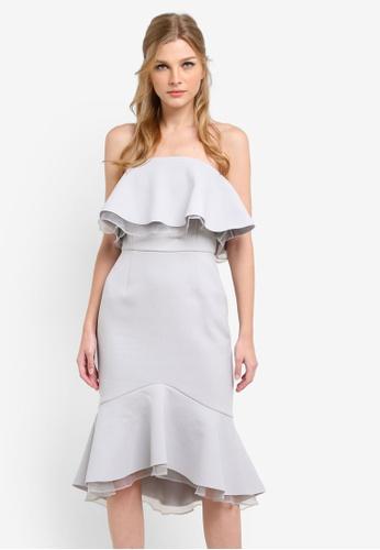 True Decadence grey Frill Bardot Midi Dress TR715AA0S2YCMY_1