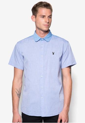 撞色領短袖襯衫zalora時尚購物網的koumi koumi, 服飾, 襯衫