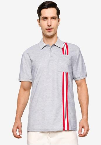 ZALORA BASICS grey Contrast Tape Polo Shirt With Pocket 8EE13AABBF70B4GS_1