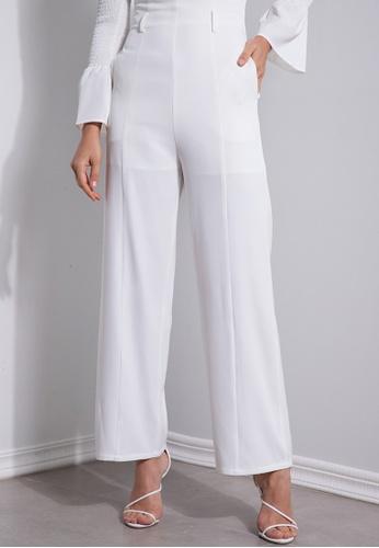 ZALORA OCCASION white High Waisted Wide Leg Pants 743B1AAFFEBC63GS_1