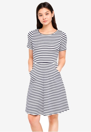 Dorothy Perkins 海軍藍色 Navy And Ivory T-Shirt Dress 090A3AAE604229GS_1