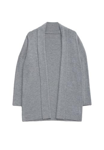 KLAPS grey Long Cardigan with Lapel Collar 1B2BBAA5973393GS_1