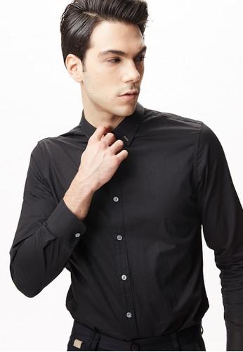 雅致商務。金屬釦飾襯衫-11076-黑色esprit香港分店, 服飾, 商務襯衫