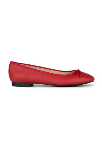 MAUD FRIZON red Textured Pu Ballerinas With Grosgrain Bow D0AE9SHD83808DGS_1