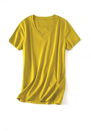 Twenty Eight Shoes yellow VANSA V-neck Mercerized Cotton Short-sleeved T-Shirt VCW-Ts1902V F74BFAAA2EF659GS_1