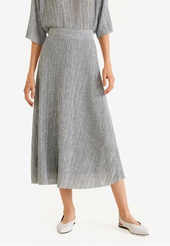 Mango grey Midi Textured Skirt 1971DAA57BFF7EGS_1