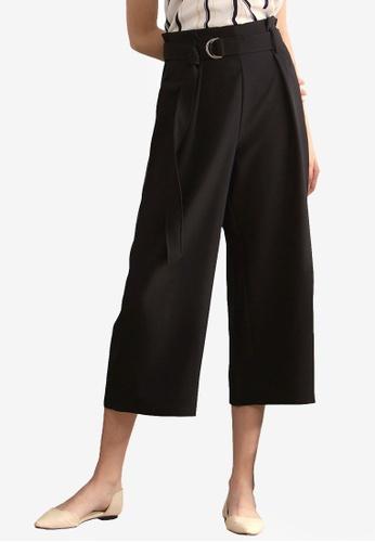 Kodz black Crop Belted Culottes 5C79CAA4D90EE2GS_1