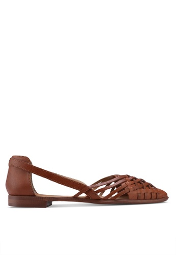TOPSHOP brown Abstract Pointed Shoes EA1A3SH6D48651GS_1