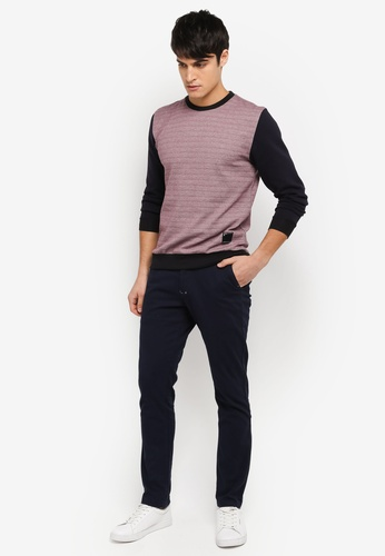 UniqTee navy Slim Chinos With Striped Waistband UN097AA0SYTWMY_1